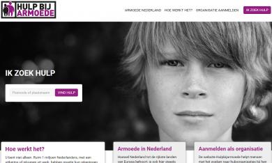 screenshot van de homepage van hulpbijarmoede.nl