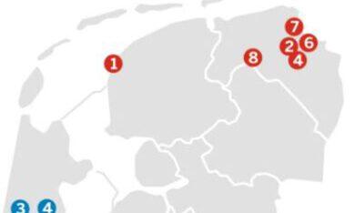 kaart van Nederland met daarin de 5 Groninger gemeenten waar intergenerationele armoede voorkomt