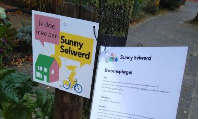 plakaat over Sunny Selwerd en een boomspiegel
